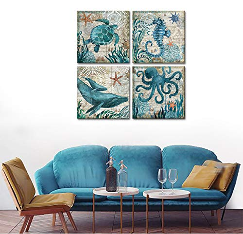 """Wall Decor Bathroom Canvas Art for Living Room Home Decorations Kitchen Teal Ocean Sea Turtle Horse Octopus Pictures Poster Nautical Beach Theme Watercolor Paintings Bedroom Framed Set 4 Piece 12x12"""""""
