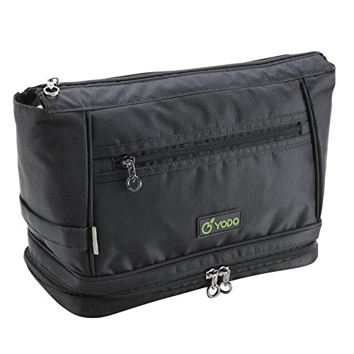 Freeprint Spacious Water-resistant Travel Toiletry Bag Dopp Kit for Men and Women, Black by Freeprint (Image #1)