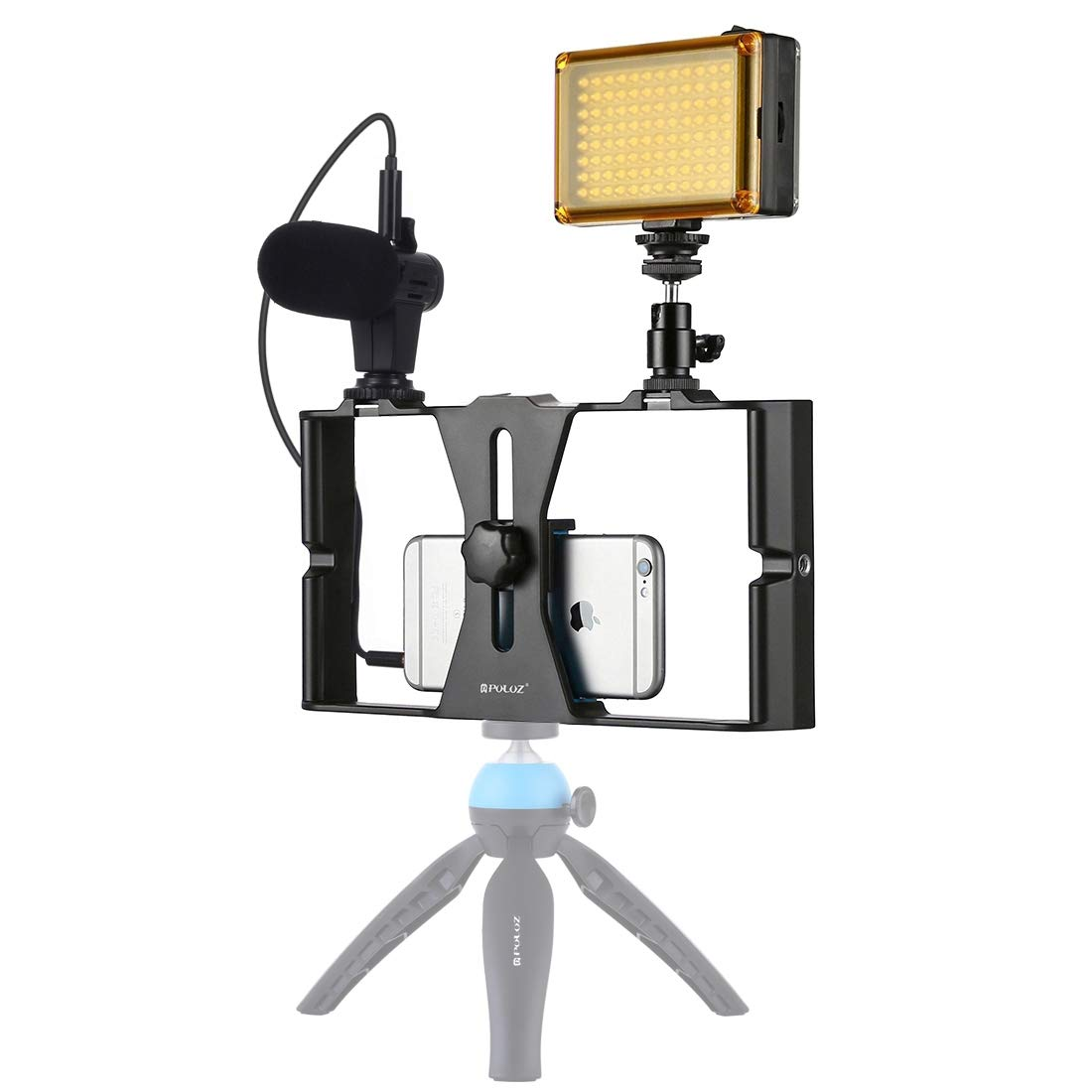 3 in 1 Vlogging Live Broadcast LED Selfie Light Smartphone Video Rig Kits with Microphone + Cold Shoe Tripod Head for iPhone, Galaxy, Huawei, Xiaomi, HTC, LG, Google, and Other Smartphones (Blue) Dura by CAOMING
