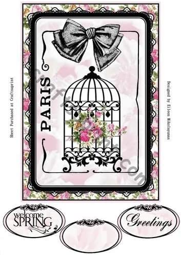Springtime in Paris Topper Four with Decoupage by Eileen Mikolayunas