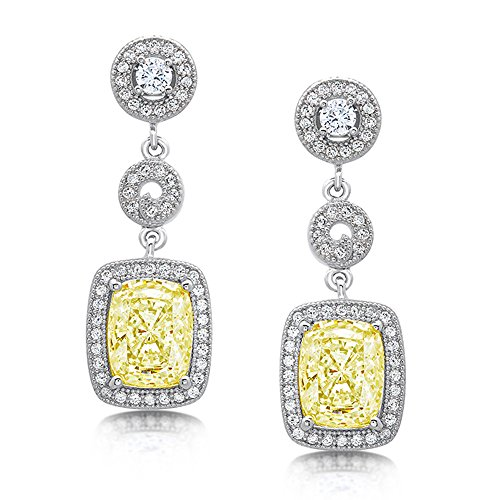 DTLA Sterling Silver Canary Yellow Cushion Stone Drop Earrings with Cubic Zirconia