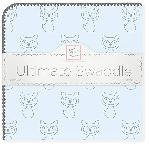 Ultimate Blanket Swaddledesigns Swaddling - SwaddleDesigns Ultimate Swaddle, X-Large Receiving Blanket, Made in USA Premium Cotton Flannel, Gray Fox on Pastel Blue (Mom's Choice Award Winner)