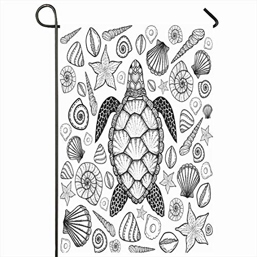Ahawoso Outdoor Garden Flag 12x18 Inches Tropical Sketch Sea Turtle Shells Line Nature Drawn Vintage Antistress Boho Book Carapace Design Ornamental Seasonal Home Decorative House Yard Sign ()