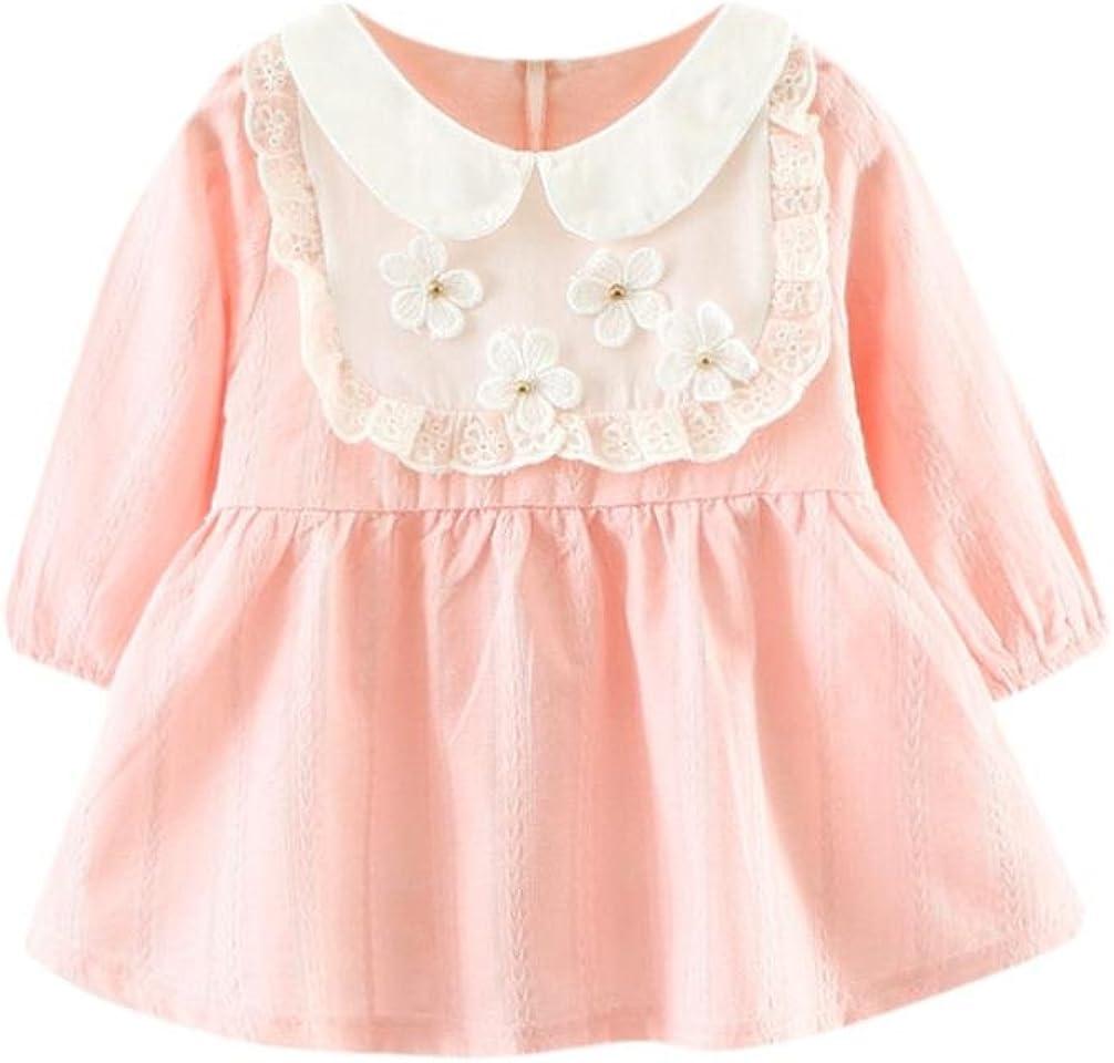 Amlaiworld Baby M/ädchen Langarm Blumen Flickwerk Kleider Prinzessin Niedlich Kleinkind Kleidung,0-24Monate