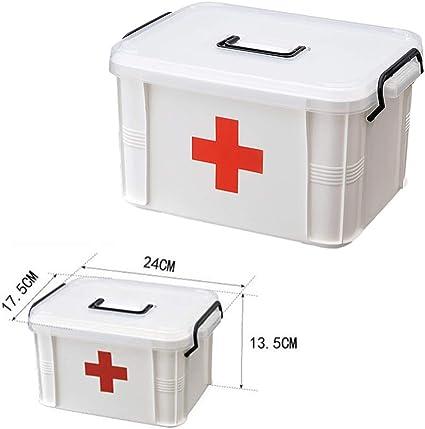 Yardwe Scatola dei Medicinali di Primo Soccorso Custodia per Farmaci in Plastica per Uso Domestico Armadietto per Medicinali per Pillole con Maniglia per Viaggi Allaperto da Casa