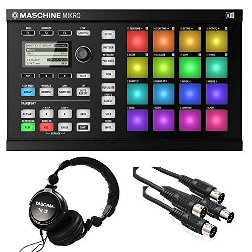 Price comparison product image Native Instruments Maschine Mikro MK2 Groove Production Studio, Black. W/ Tascam + 2 Midi Cables.