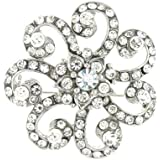 Brooches Store Antique Silver and Crystal Spiral Flower Brooch