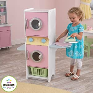 KidKraft Laundry Playset Children's Pretend Wooden Stacking Washer and Dryer Toy with Iron and Basket – Pastel