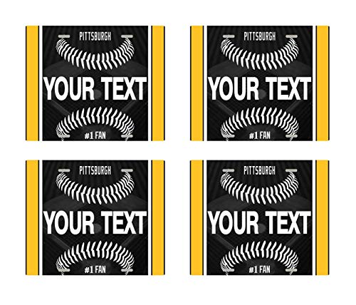 (BRGiftShop Personalize Your Own Baseball Team Pittsburgh Set of 4 Square Beverage Coasters)