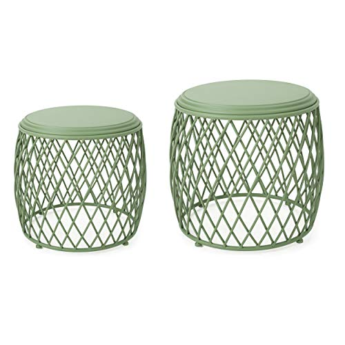 Cheap GDF Studio Alameda Nestable Outdoor 15 Inch 19 Inch Lattice Matte Blue Iron Side Table Set (Matte Green)