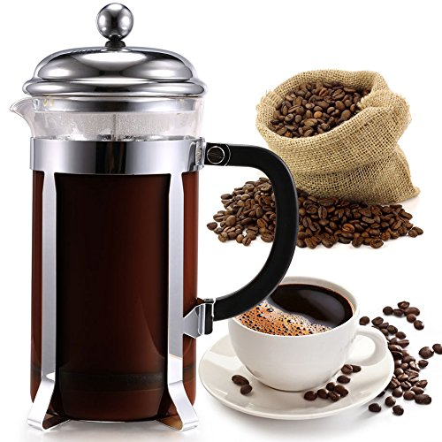 Coffee Tea Maker Coffess Press Pot 1000ml Use For Coffee, Milk, Tea, Fruit, Chocolate Stainless Steel And Frame, Glass Container, Heat-resisting Heavy-duty