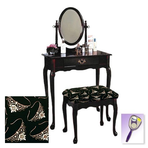 New Cherry Finish Queen Anne Make Up Vanity Table with Mirror & Princess Themed Bench
