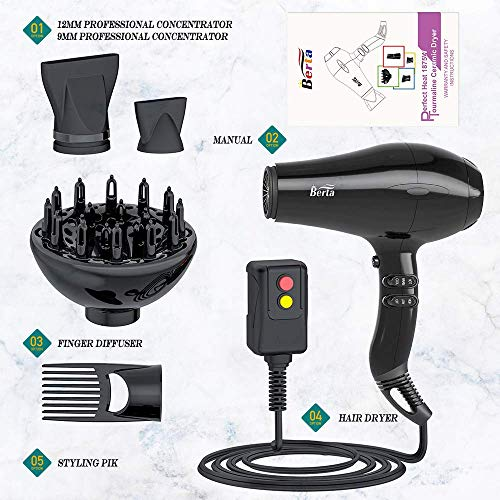 Professional Tourmaline Hair Dryer 1875W Fast Drying Blow Dryer with Concentrator & Diffuser & Pik Lightweight Ionic Hairdryer with 2 Speed and 3 Heat Setting