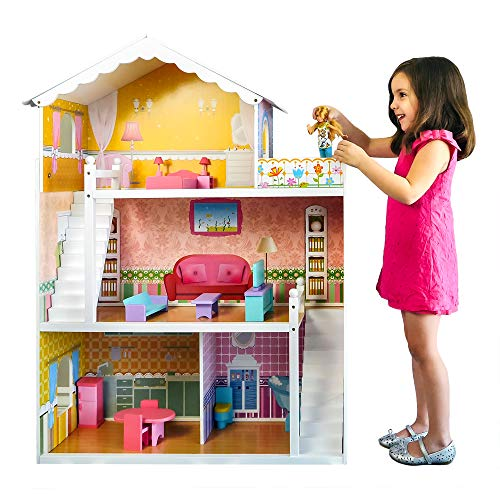 Best Choice Products 44in Height Kids Large 3Story Multicolor Wooden Open Dollhouse Playhouse Set w/ 5 Rooms 17 Mini Furniture Pieces
