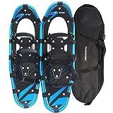 Flashtek Snowshoes for men and women, Light Weight Aluminum Terrain Snowshoes + Free Carrying Tote Bag (Blue, 25'')