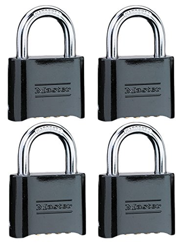 Master Lock 178D Set-Your-Own Combination Padlock, Die-Cast, Black, 4-Pack,