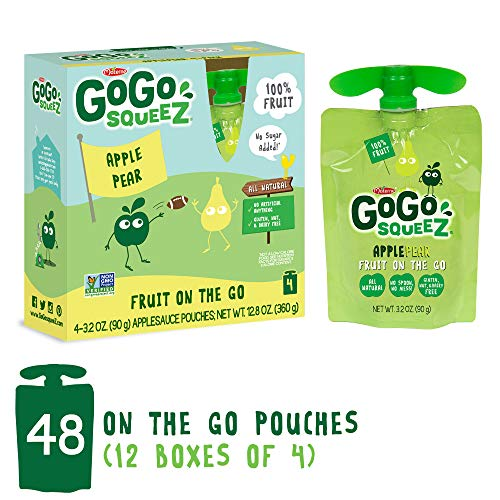 GoGo squeeZ Applesauce on the Go, Apple Pear, 3.2 Ounce Portable BPA-Free Pouches, Gluten-Free, 48 Total Pouches (12 Boxes with 4 Pouches Each)