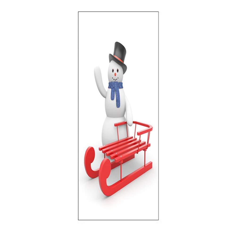 yanbirdfx Waterproof Sled Snowman Self-Adhesive Door Decal Sticker Christmas Home Decor