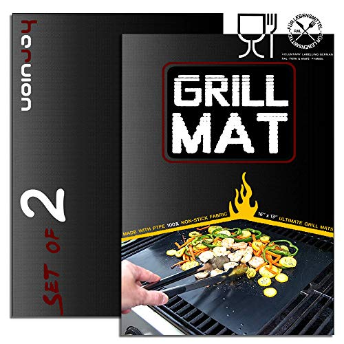 HaRuion Grill Mats,Non Stick Grill Mat,Reusable Fire Resistant/Heat Resisting Grill Mats for Barbecue,Charcoal Grill,Oven,Gas Grill,Set of 2 Heavy Duty BBQ Grill Mats