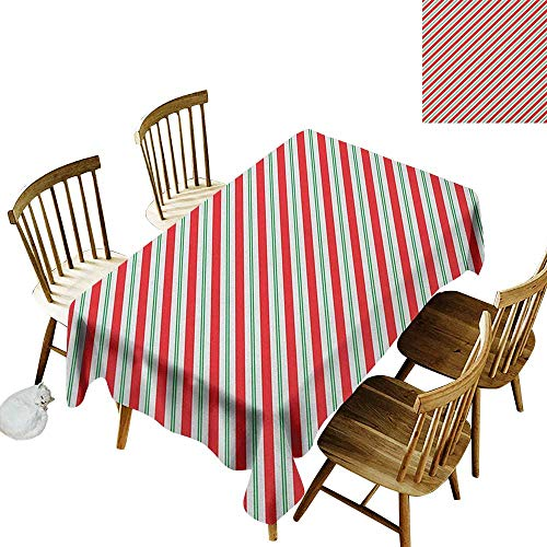 - Cranekey Patterned Rectangular Tablecloth W50 x L80 Candy Cane Bicolor Stripes and Lines Festive Traditional Design Seasonal Pattern Red Fern Green White Great for Party More