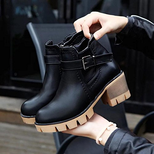 Womens Clode® Boots Spring Autumn Heel Women High Fashion Leather Ankle Rain Ladies Boots Black Toes Snow Round Boots qFBBwnrR5