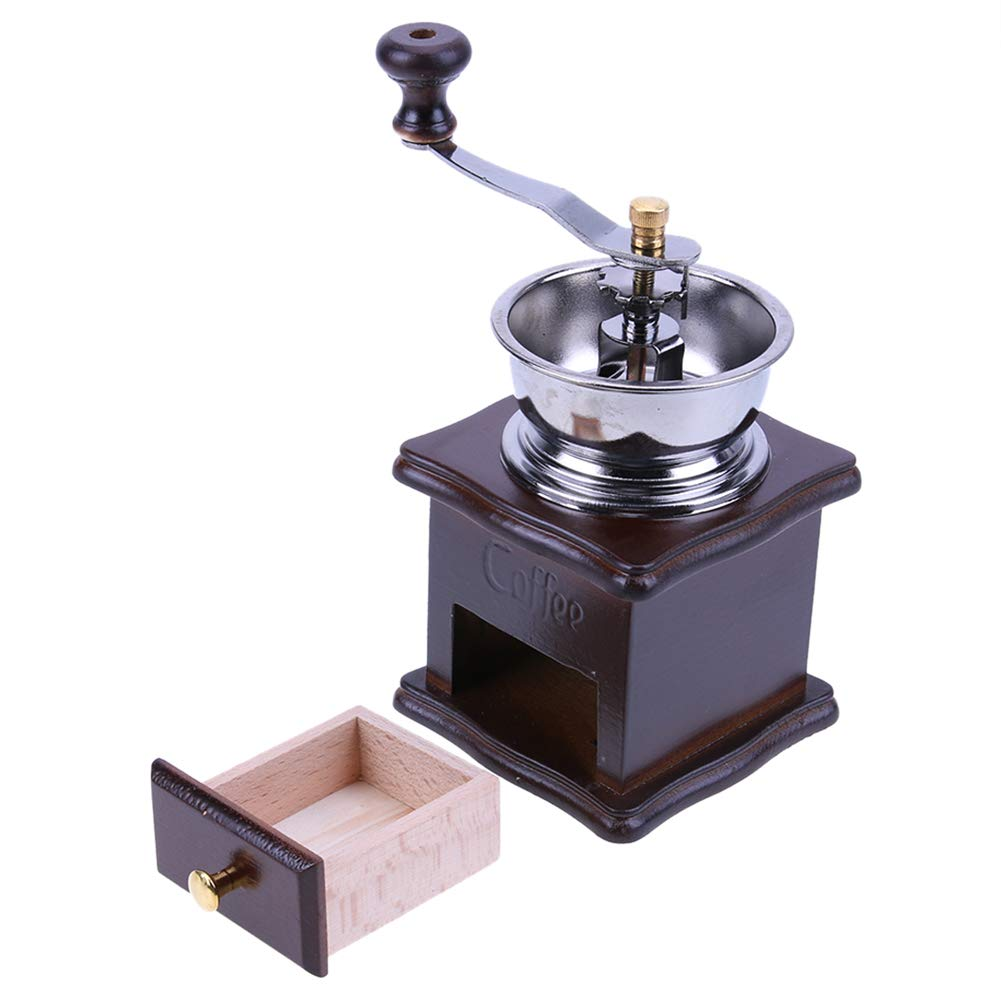 Matefield Mini Manual Coffee Mill Wood Stand Bowl Antique Hand Coffee Bean Grinder by Matefield (Image #9)