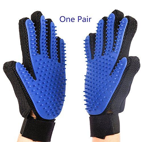 IZZEEAR Pet Grooming Glove for Dog&Cat&Horse – Pet Hair Remover Mitt – Rubber Tips for Massage – Five Finger Design-Blue…