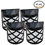 Emart Solar Powered Retro 6 LED Outdoor Waterproof Path Light Yard Fence Gutter Garden Wall Lamp 4 Pack (White Light)