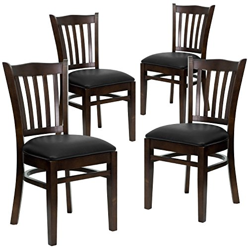 Flash Furniture 4 Pk. HERCULES Series Vertical Slat Back Walnut Wood Restaurant Chair - Black Vinyl Seat ()