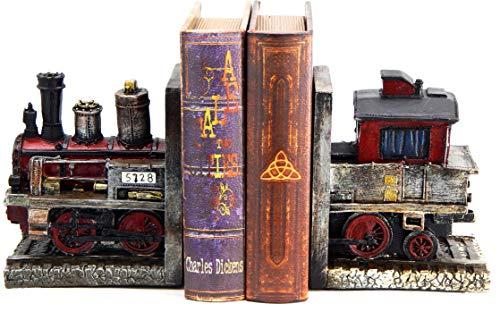 Bellaa 20928 Train Bookends Steam Locomotive Engine 6 Inch