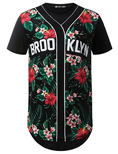 URBANCREWS Mens Hipster Hip Hop Brooklyn Floral Longline T-Shirt Black, XL