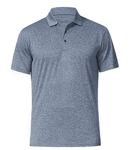 Men's Athletic Golf Polo Shirts, Dry Fit Short Sleeve Workout Shirt (L, Pewter)