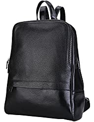 Damero Genuine Leather Casual Backpack, Women Purse Schoolbag