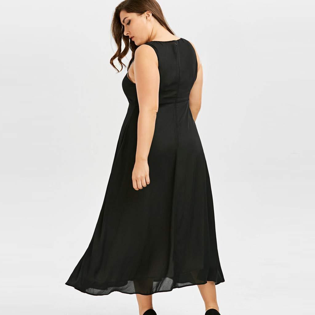 Gyouanime Plus Size Dress Womens V-Neck Sleeveless Black White Patchwork Long Maxi Dress Beachwear by Gyouanime Dress (Image #6)