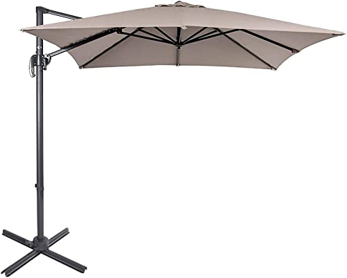 Sundale Outdoor 8.2ft Square Offset Hanging Umbrella Market Patio Umbrella Aluminum Cantilever Pole