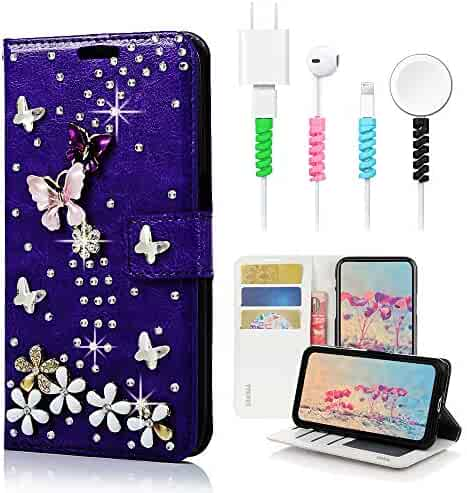STENES Bling Wallet Case Compatible with Sony Xperia 1 3D Handmade Butterfly Bowknot Flowers Leather Cover with Cable Protector 4 Pack Stylish - Light Purple