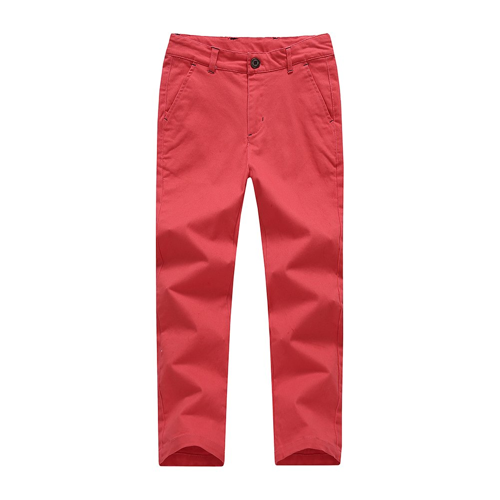 BASADINA Boys Pants 6 Color - Summer Chino Cotton Pants Fitted with Adjustable Waist, 4-14 Years Old