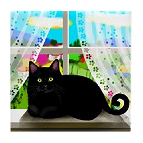 CafePress - Black CAT Window Tile Coaster - Tile Coaster, Drink Coaster, Small Trivet ()