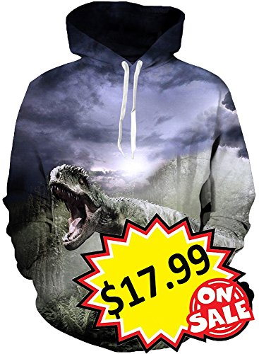 Leapparel Mens Forest Dinosaur with Pocket Funny 3D Printed Pullover Hooded Sweatshirt M