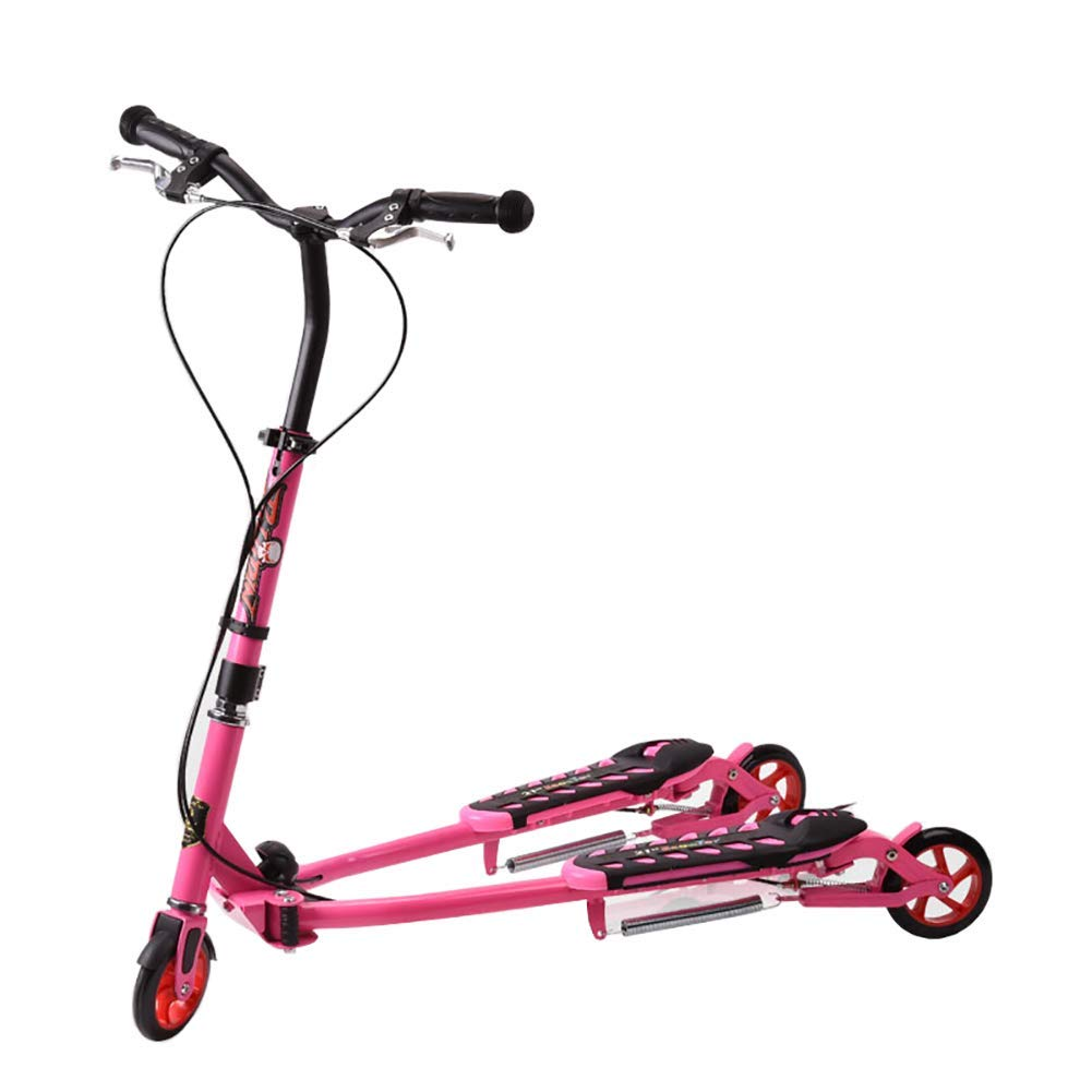 CMXIA rosa Frog Car with Handbrake Scooter per Bambini a Tre Ruote Forbici Auto Pieghevole Scivolo Altalena per i Bambini di età Compresa tra 6-12