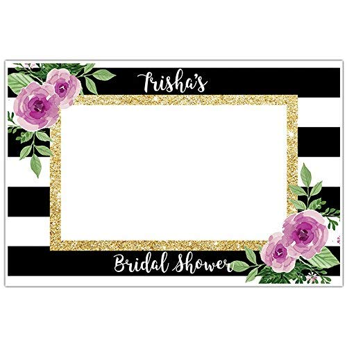 Amazoncom Black And White Striped Floral Plum Selfie Frame Social