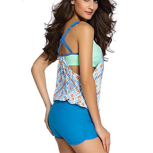 Mujeres Bikini Conjunto Tankini push up Traje de Baño con Estampado de Rayas Tops Bragas Azul2