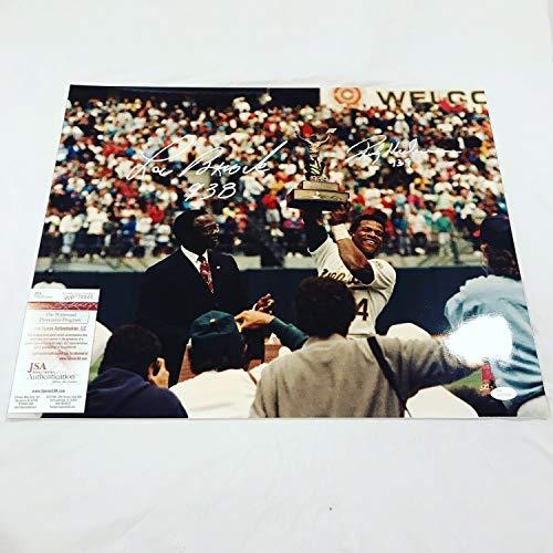 Rickey Henderson & Lou Brock Autographed Signed Autograph 16x20 Photo Autograph JSA Authentic Stolen Base King