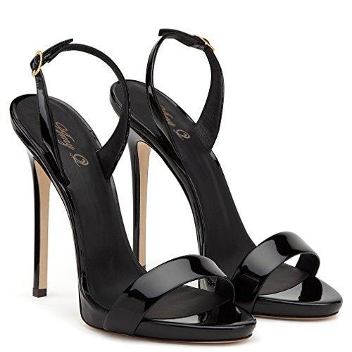 Mariage Satin Dating Party Chaussures Femmes Sandales Sandales Robe Escarpins Escarpins CLOVER EU43 Mariée De LUCKY Blink Cour Hauts Talons Hauts A Black Bureau Talons OFH0xT