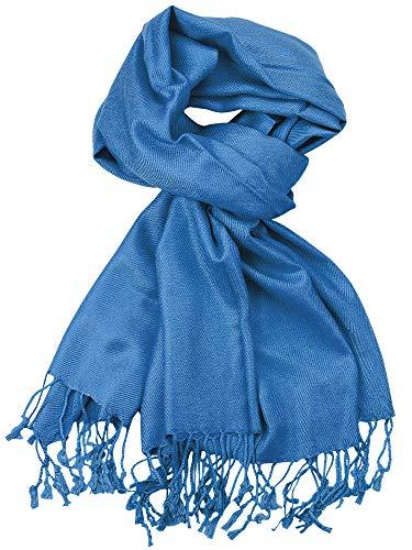 NYFASHION101 Women's Fabulous Plus Size Soft Pashmina Viscose Scarf Shawl Wrap, Peacock Blue #53 -