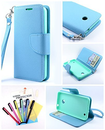 Thousand Eight(TM) For Nokia lumia 635/630 Candy Dual-Use Flip PU Leather Wallet Pouch Case + [Free LCD Screen Protector Shield(Ultra Clear)+Touch Screen Stylus] (Wallet Pouch blue) (Phone Nokia Case 630 Cell)