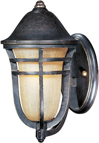- Maxim 40102MCAT Westport VX 1-Light Outdoor Wall Lantern, Artesian Bronze Finish, Mocha Cloud Glass, MB Incandescent Incandescent Bulb , 40W Max., Dry Safety Rating, Standard Dimmable, Glass Shade Material, 5100 Rated Lumens