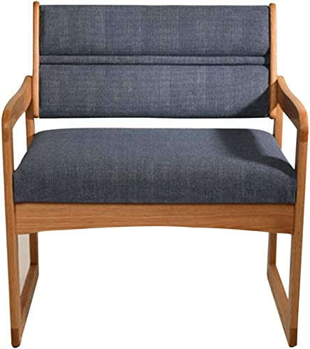 Reviewed: Wooden Mallet Dakota Valley Bariatric Guest Chair Light Oak Finish Blue Upholstered Sled Base