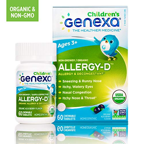 Genexa Allergy-D for Children | Certified Organic & Non-GMO, Physician Formulated, Homeopathic | Multi-Symptom Allergy Relief Medicine for Children | 60 Tablets