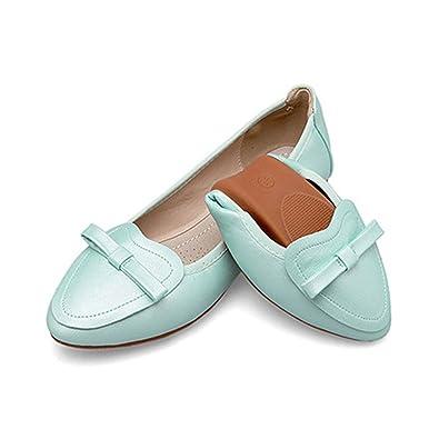 OCHENTA Damen Ballerinas Schuhe Faltbar Weich Spitz Schleife Ballett Komfort Flach Pink Asiatisch 36/EU 36 WbobgY